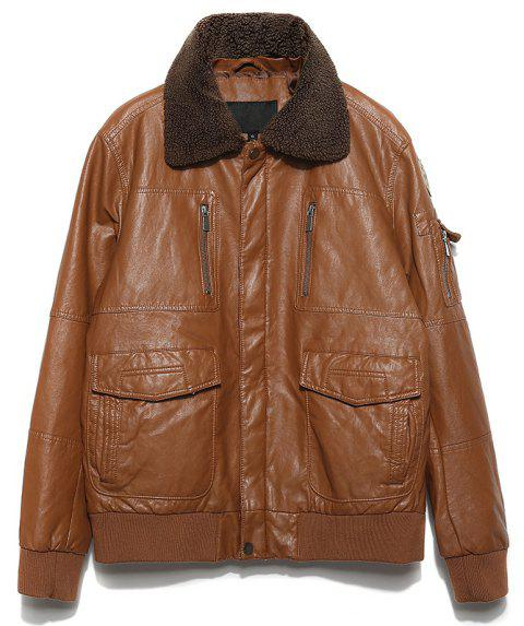 Autumn and Winter Men'S Leather Casual Fashion Jacket - CAMEL XL