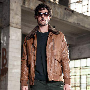 Autumn and Winter Men'S Leather Casual Fashion Jacket - CAMEL M