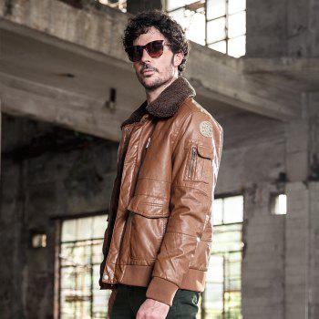 Autumn and Winter Men'S Leather Casual Fashion Jacket - CAMEL L