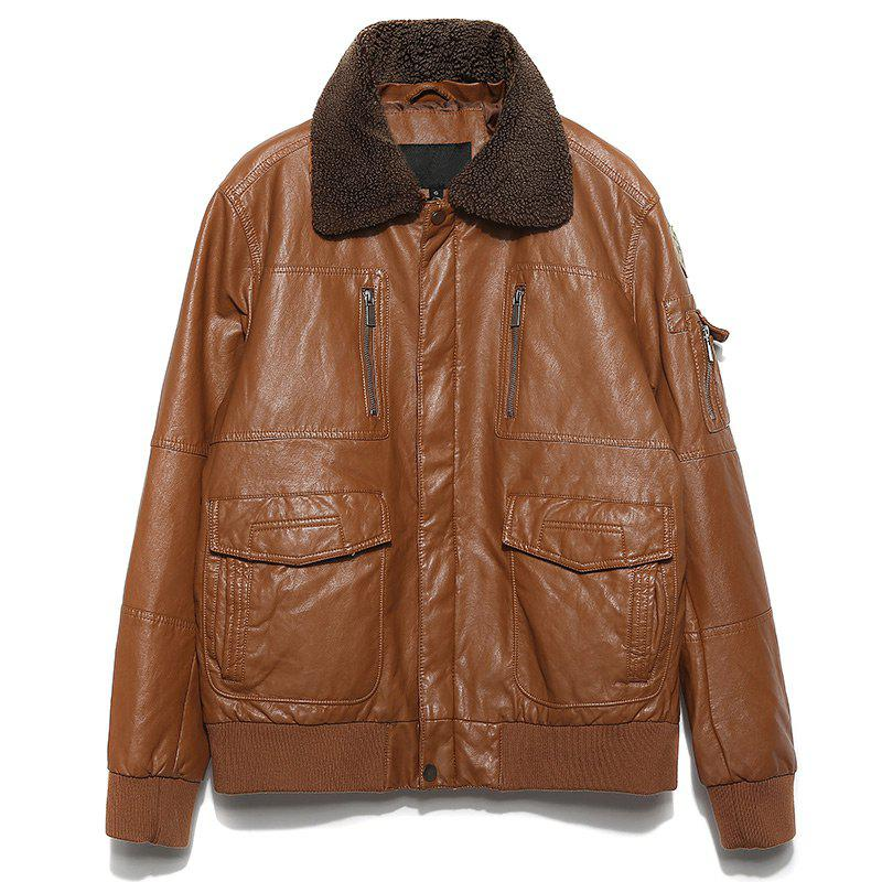 Automne et Hiver Men 's Leather Casual Fashion Jacket - Camel S