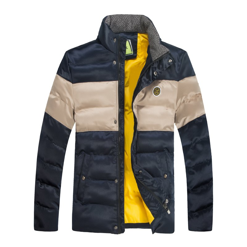 Men'S Winter Coat Collar Thickening Casual Jacket - BLUE L