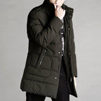 Autumn and Winter Men'S Down Jacket Casual Fashion Warm Coat - GREEN M