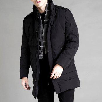 Autumn and Winter Men'S Down Jacket Casual Fashion Warm Coat - BLACK 2XL