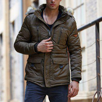Men'S Casual Cotton Padded Jacket - ARMY GREEN XL