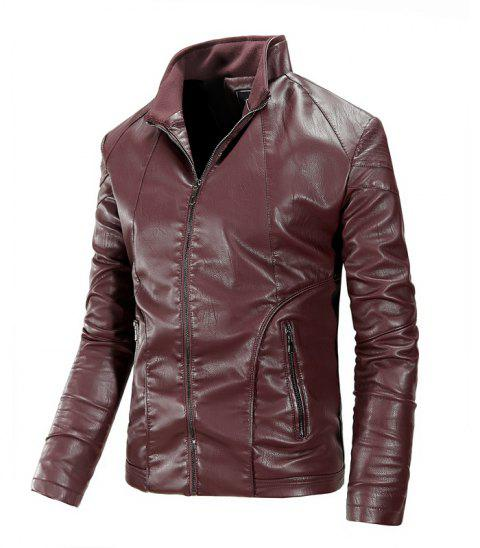 Autumn and Winter Men'S Leather Fashion Solid Color Leisure Coat - CLARET 2XL