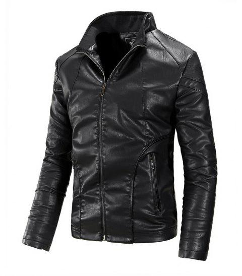 Autumn and Winter Men'S Leather Fashion Solid Color Leisure Coat - BLACK M