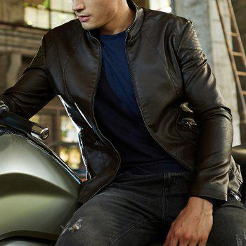 Autumn and Winter Men'S Leather Fashion Solid Color Leisure Coat - COFFEE M