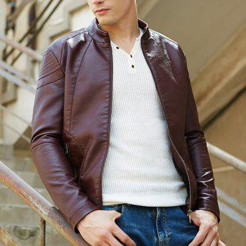Autumn and Winter Men'S Leather Fashion Solid Color Leisure Coat - CLARET XL