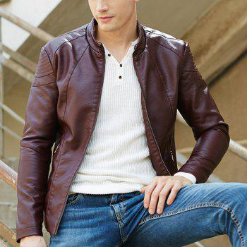 Autumn and Winter Men'S Leather Fashion Solid Color Leisure Coat - CLARET M