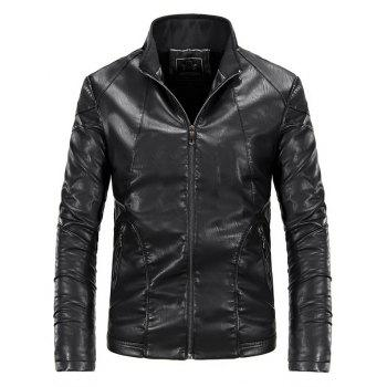 Autumn and Winter Men'S Leather Fashion Solid Color Leisure Coat - BLACK XL