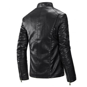 Autumn and Winter Men'S Leather Fashion Solid Color Leisure Coat - BLACK 3XL