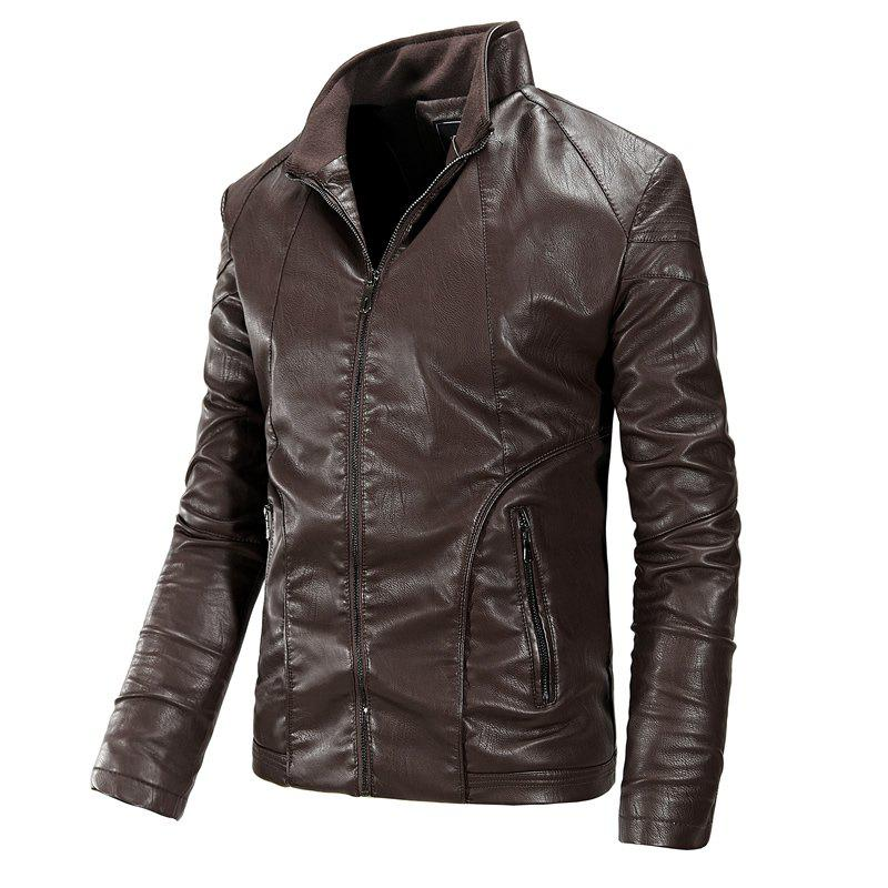 Autumn and Winter Men'S Leather Fashion Solid Color Leisure Coat - COFFEE 2XL