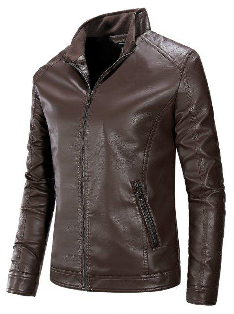 Autumn and Winter Men'S Pure Leather Fashion Leisure Coat - COFFEE M
