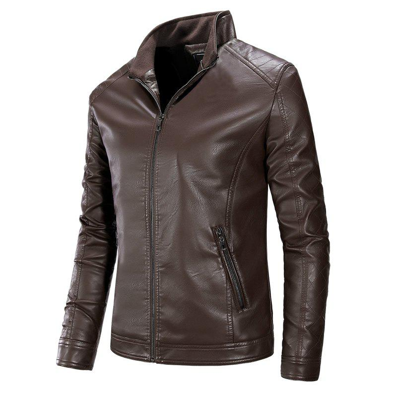 Autumn and Winter Men'S Pure Leather Fashion Leisure Coat - COFFEE 3XL