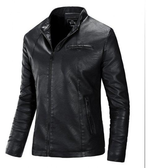 Autumn and Winter Fashion Leisure Men'S Leather Collar Coat - BLACK XL