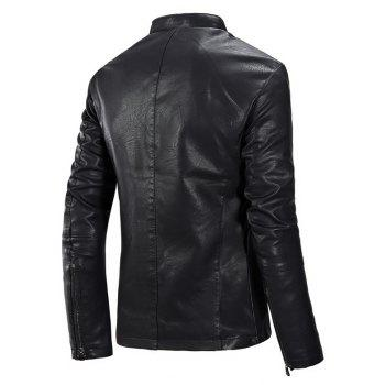 Autumn and Winter Fashion Leisure Men'S Leather Collar Coat - BLACK 2XL