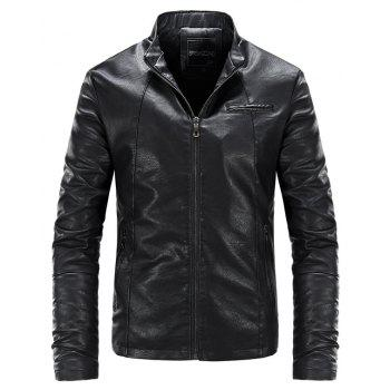 Autumn and Winter Fashion Leisure Men'S Leather Collar Coat - BLACK 3XL