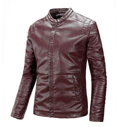 Winter Men'S Cashmere Leather Collar with Fashion Casual Jacket - WINE RED L
