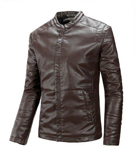 Winter Men'S Cashmere Leather Collar with Pure Fashion Casual Jacket - COFFEE XL