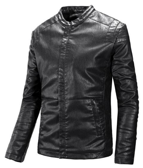 Winter Men'S Cashmere Leather Collar with Pure Fashion Casual Jacket - BLACK XL