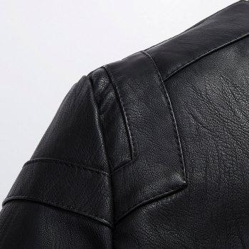 Winter Men'S Cashmere Leather Collar with Pure Fashion Casual Jacket - BLACK 3XL
