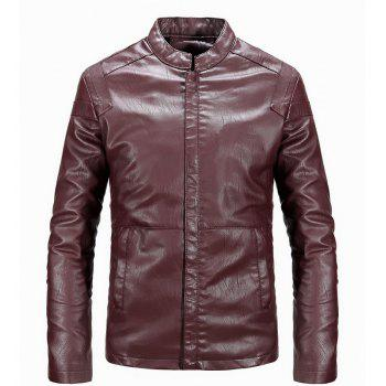 Winter Men'S Cashmere Leather Collar with Pure Fashion Casual Jacket - WINE RED 2XL