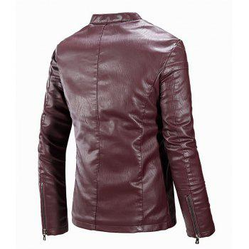 Winter Men'S Cashmere Leather Collar with Pure Fashion Casual Jacket - WINE RED L