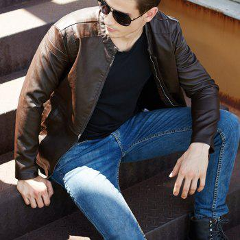 Winter Men'S Cashmere Leather Collar with Pure Fashion Casual Jacket - COFFEE M