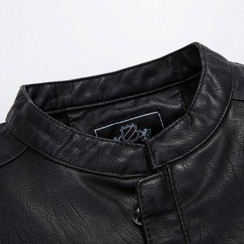 Winter Men'S Cashmere Leather Collar with Pure Fashion Casual Jacket - BLACK 2XL
