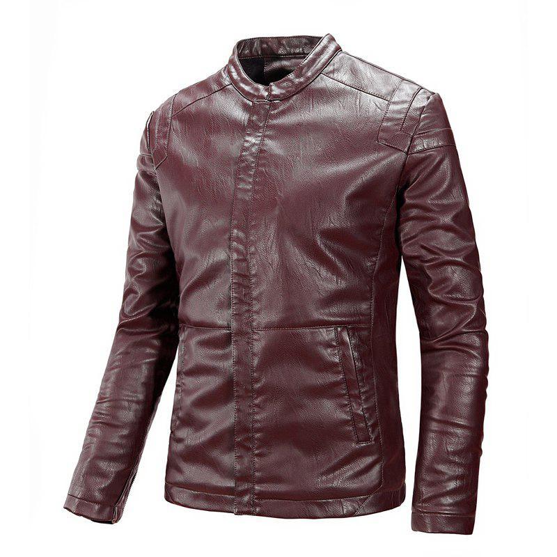 Winter Men'S Cashmere Leather Collar with Pure Fashion Casual Jacket - WINE RED 3XL