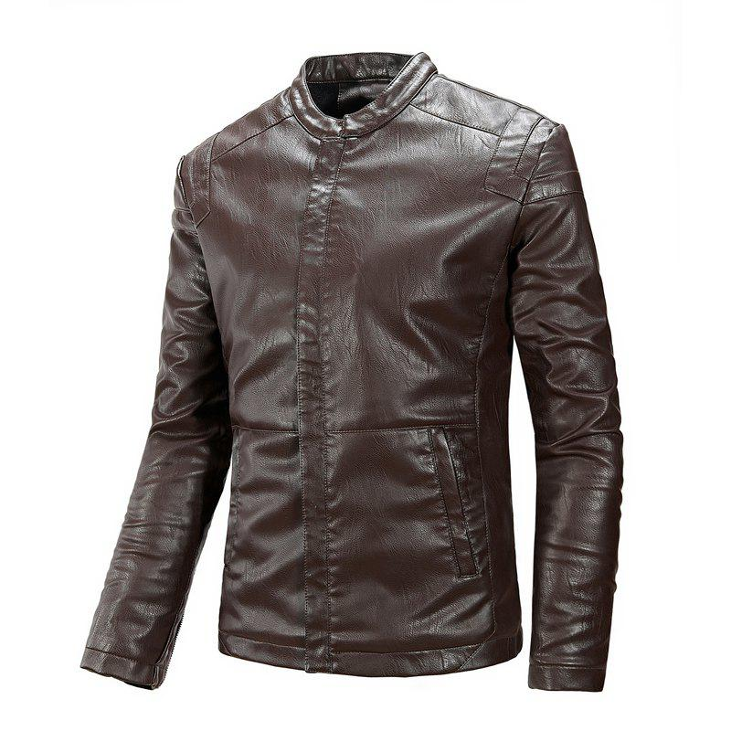 Winter Men'S Cashmere Leather Collar with Pure Fashion Casual Jacket - COFFEE 2XL