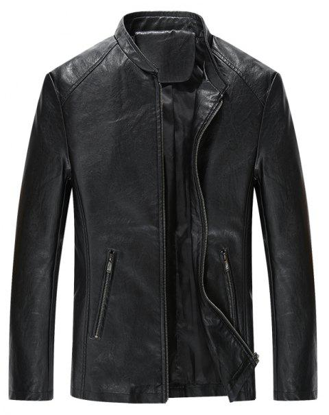 Autumn and Winter Men'S Casual Fashion Coat Color Leather Collar - BLACK 4XL