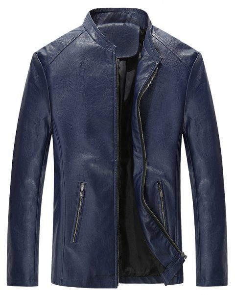 Autumn and Winter Men'S Casual Fashion Coat Color Leather Collar - DEEP BLUE 4XL