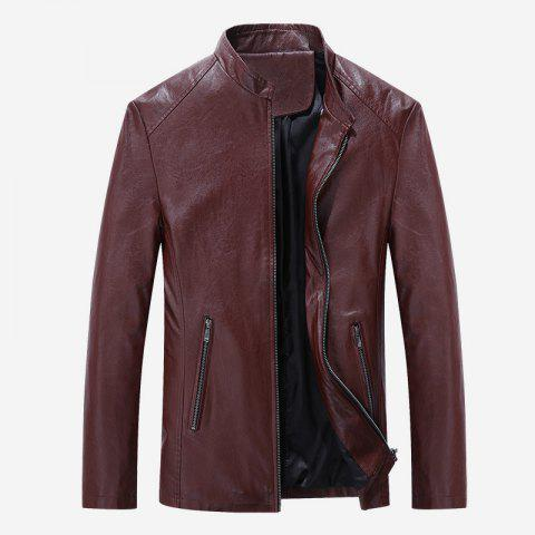 Autumn and Winter Men'S Casual Fashion Coat Color Leather Collar - WINE RED 2XL