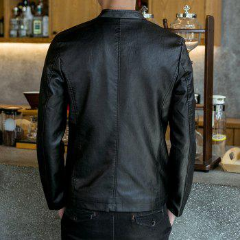 Autumn and Winter Men'S Casual Fashion Coat Color Leather Collar - BLACK XL