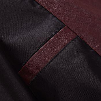 Autumn and Winter Men'S Casual Fashion Coat Color Leather Collar - WINE RED XL