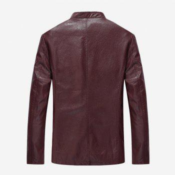 Autumn and Winter Men'S Casual Fashion Coat Color Leather Collar - WINE RED 5XL