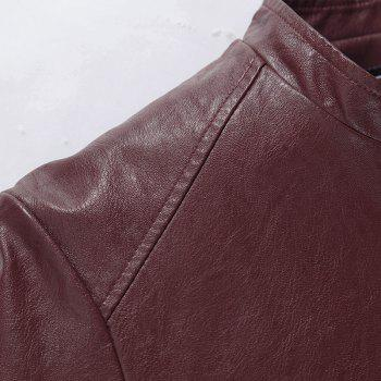 Autumn and Winter Men'S Casual Fashion Coat Color Leather Collar - WINE RED 3XL