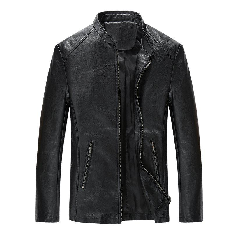 Autumn and Winter Men'S Casual Fashion Coat Color Leather Collar - BLACK L