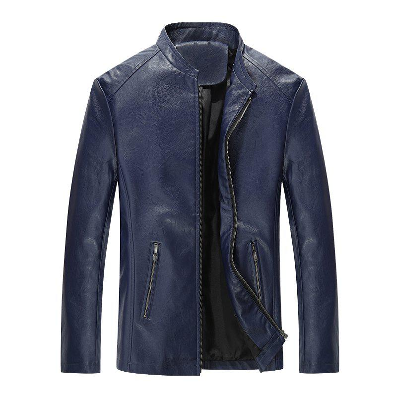 Autumn and Winter Men'S Casual Fashion Coat Color Leather Collar - DEEP BLUE L