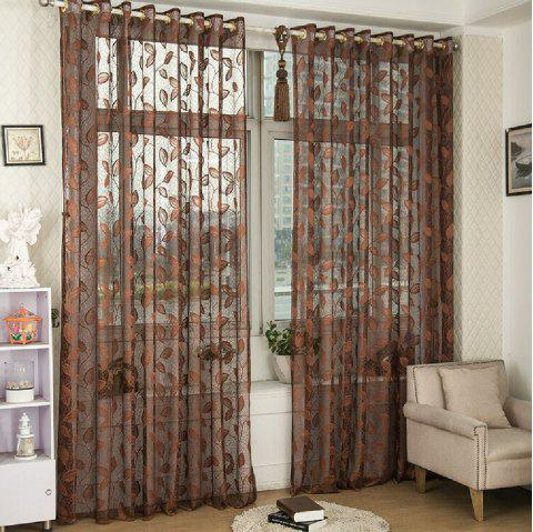 Gold Woven Leaves Hollow Curtain Window Curtains 1pc - ESPRESSO FLAT FRONT