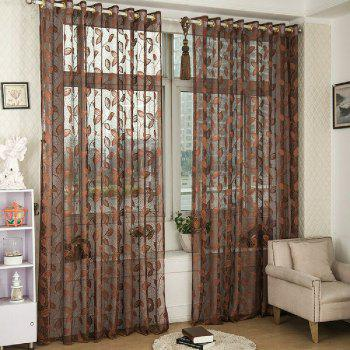 Gold Woven Leaves Hollow Curtain Window Curtains 1pc - ESPRESSO ESPRESSO