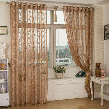 Gold Woven Leaves Hollow Curtain Window Curtains 1pc - LIGHT COFFEE LIGHT COFFEE