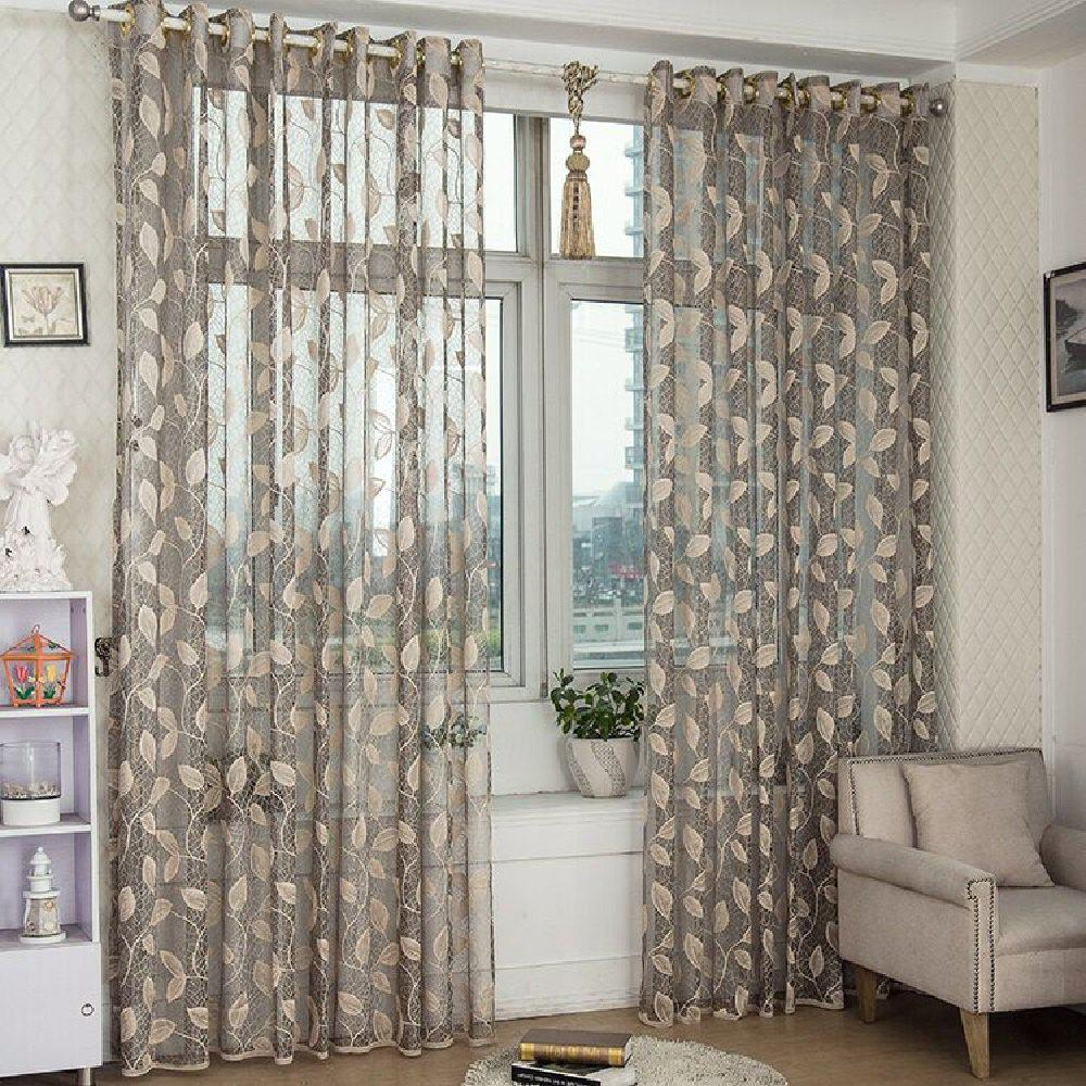 Gold Woven Leaves Hollow Curtain Window Curtains 1pc - GRAY FLAT FRONT
