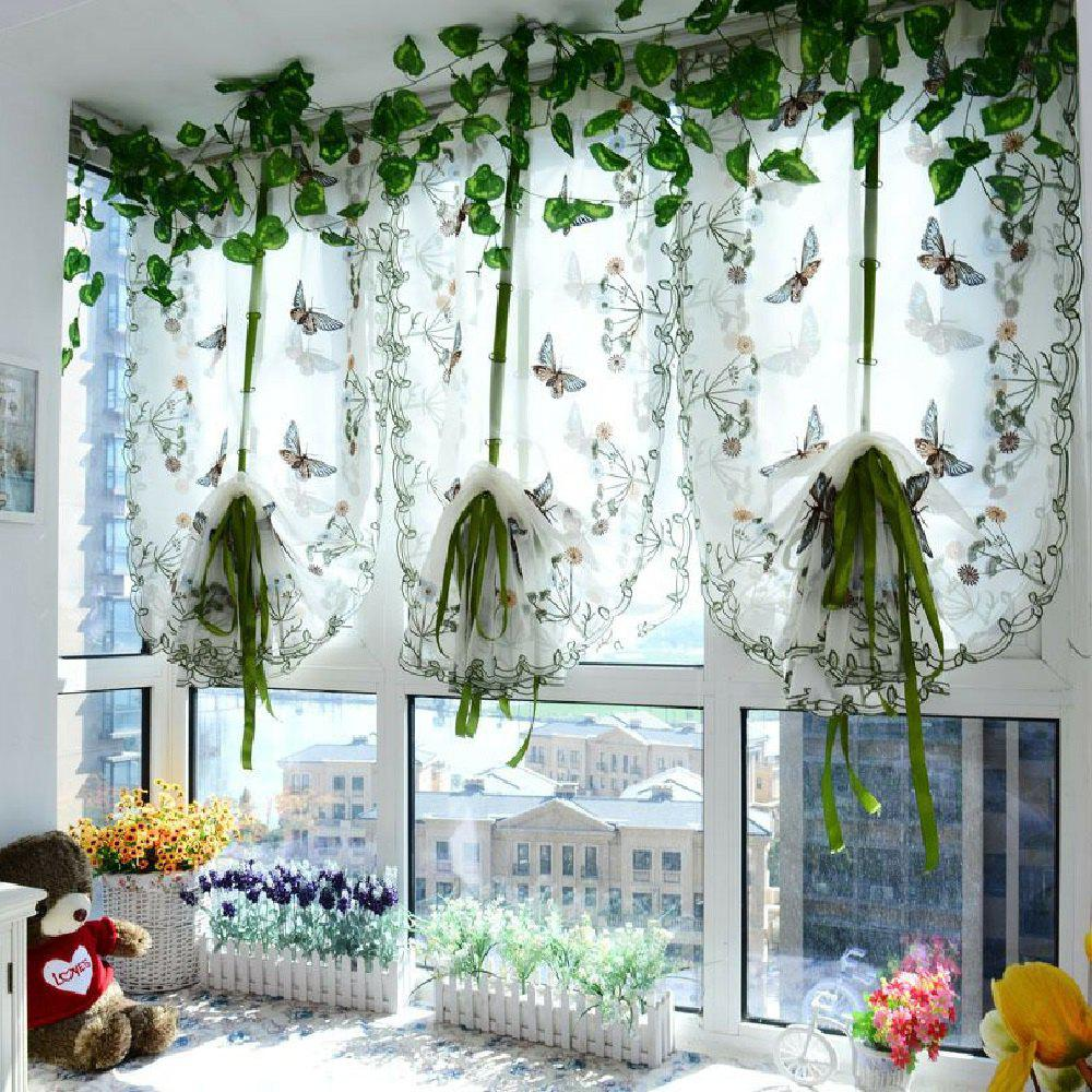 Water soluble embroidery little butterfly living room curtains - BLUE FLAT FRONT