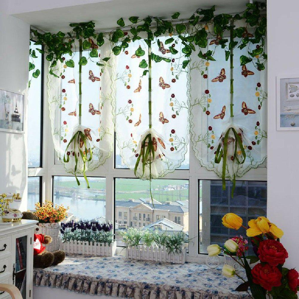 Water soluble embroidery little butterfly living room curtains - YELLOW FLAT FRONT