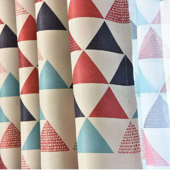 Geometric Triangle Shading Curtain - RED FLAT FRONT