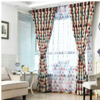Geometric Triangle Shading Curtain - RED RED