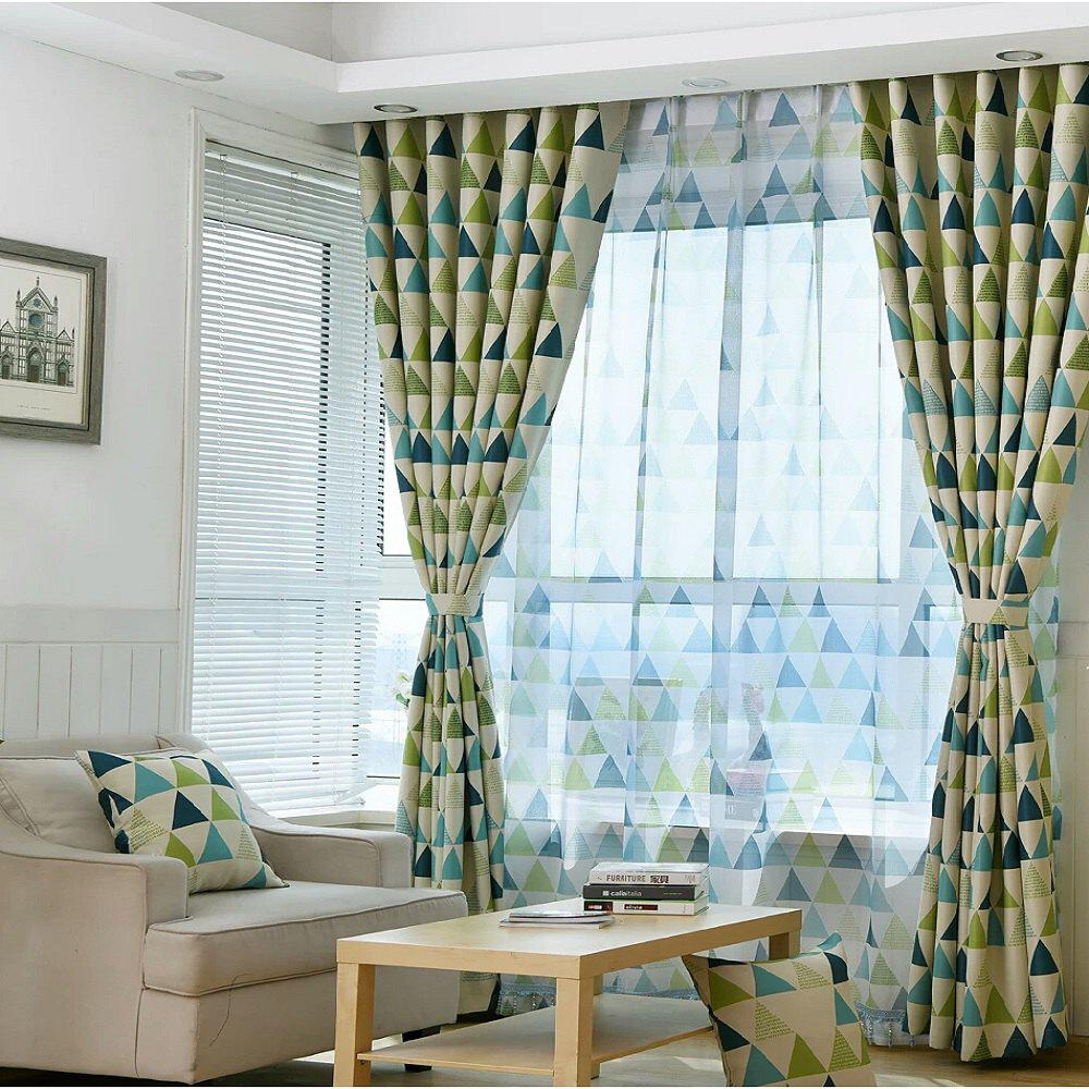 Geometric Triangle Shading Curtain - GREEN FLAT FRONT