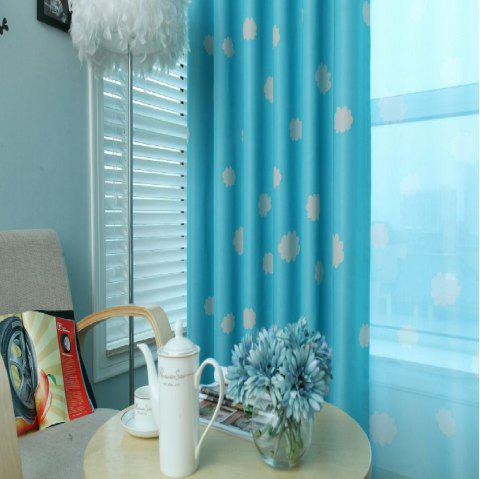 Cloud Cover Bedroom Dreamy Curtains - BLUE FLAT FRONT